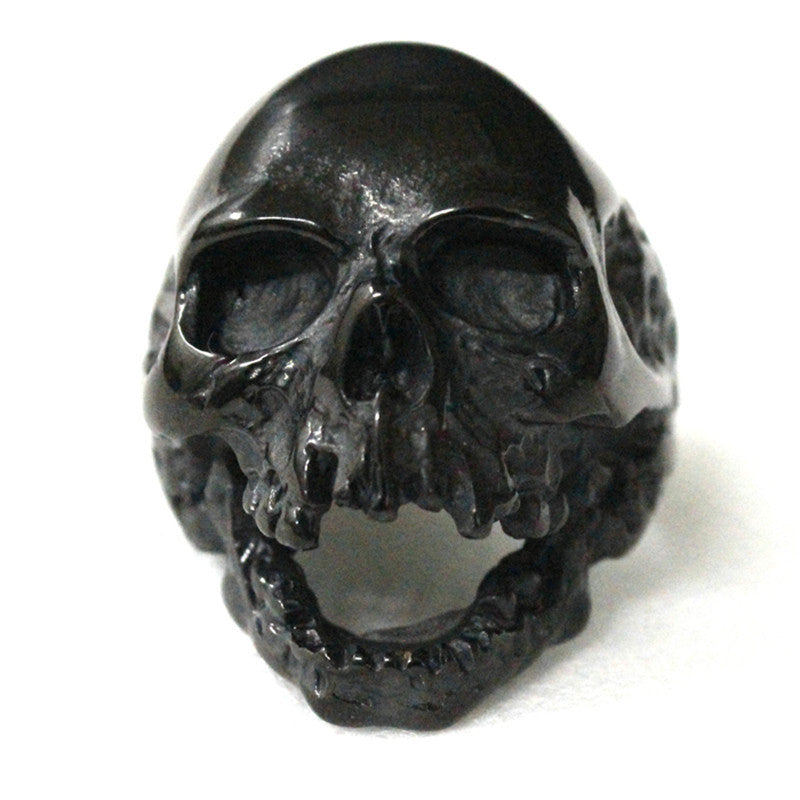 Black Silver Huge Skull Ring 316L Stainless Steel Punk Style Newest Design Men Boys Skull Ring