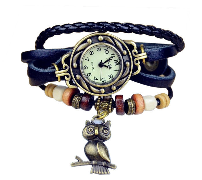 Vintage Watch Leather Strap bronze ladies quartz Watches Owl Pendant item hours wooden Bead Bracelet watch Casual watches