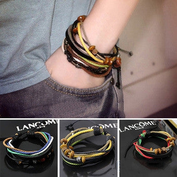 Womens Mens Wrap Multilayer Genuine Leather Rope Bracelet Chain With Charms