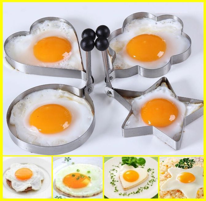 Stainless Steel Pancake Mould Mold Ring Cooking Fried Egg Shaper Kitchen Tools-4pcs/set