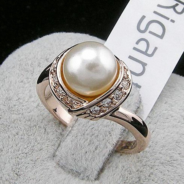 Real Italina Rigant Austria Crystal 18KRGP gold Plated simulated pearl Rings for Women Vintage