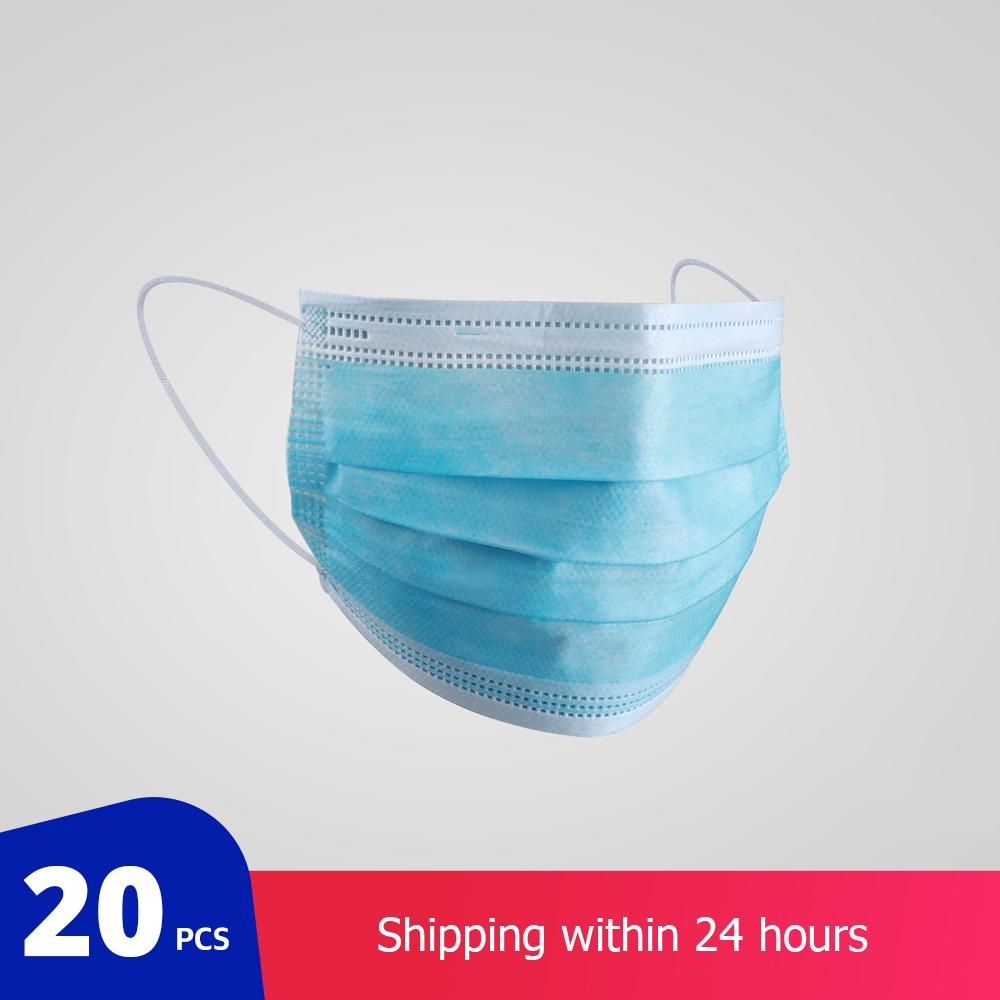 20 PCs/bag Protective Surgical Mask Non-woven Dust Mask Thickened Disposable Mouth Mask 3-layer Face Mask