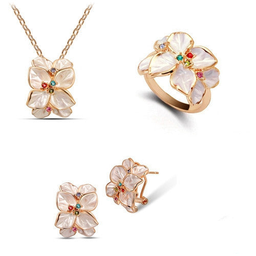 Rose Gold Plated Rhinestone Crystal Vintage African costume Jewelry Sets with necklaces earring ring Fashion for women