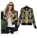 High Street Spring Summer Jackets Women All-Match Chiffon Short Jacket Slim Long-Sleeve Vintage Printed Coat Jackets