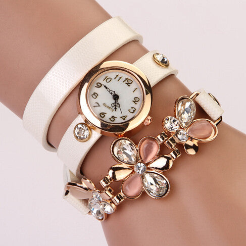 New Women PU Leather Strap Watches Flower Bracelet Women Dress Watch Wristwatches Top Brand Opal Girl's Gift Fashion