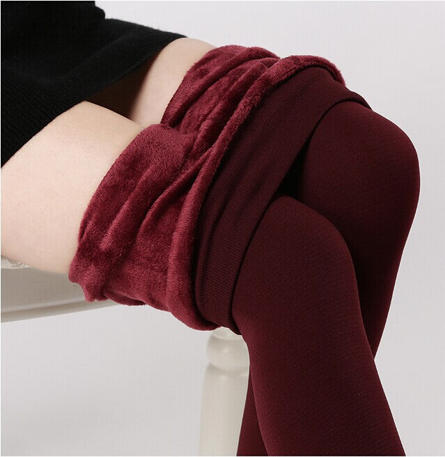 Plus cashmere leggings woman girls Casual Warm Winter Faux Velvet Knitted Thick Slim Leggings Super Elastic
