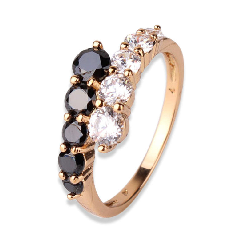 Fashion Classic Rings 18K Gold Plating Ring White&Black Crystals CZ Eternal Engagement Love Rings For Women Jewellry