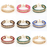 Fashion Retro Vintage Lady Alloy Metal Jewelry Braided Rope CZ Diamond Crystal Bracelets & Bangles Summer Style Jewelry