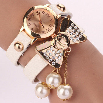 Hot New Style Fashion Women Dress Watches Leather Steel Rhinestone Quartz Reloj Mujer Butterfly Pearl Luxury Girl's bracelet watch