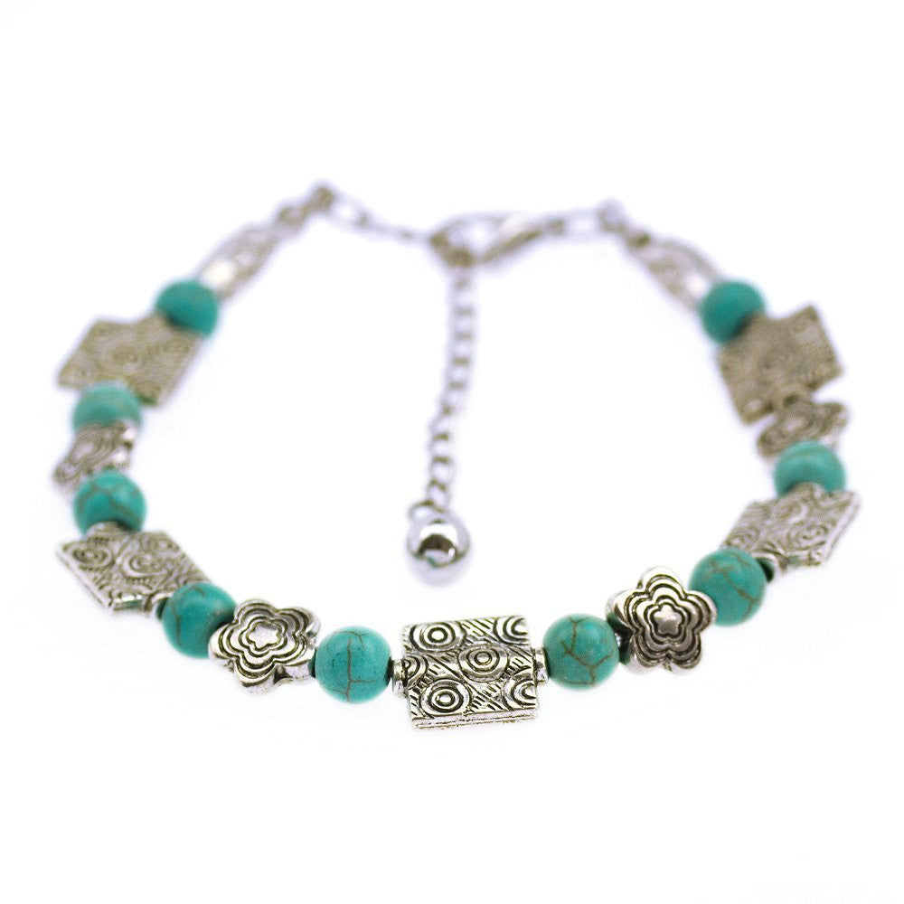 Hot Sale Vintage Turquoise Bracelets Bangles Silver Top Quality Woman Bangle Bracelet Fine Jewelry For Women Girl