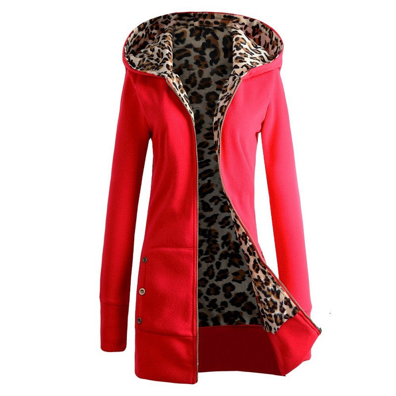 Winter Warm Fashion Women Lady Long Sleeve Hoodies Sweatshirt Slim Fit Leopard Coat Jacket Outerwear