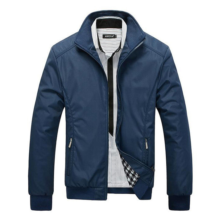 New Arrival Spring Men's Solid Fashion Jacket Male Casual Slim Fit Mandarin Collar Jacket 3 Colors