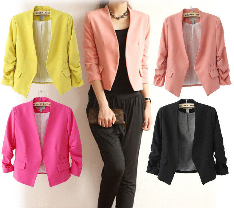 New Fashion Candy Color Women Spring Slim Short Design Suit Coat Jackets