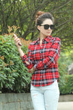 New Fashion Womens Tops Casual Blouse Turndown Collar Long Sleeve Plaids Print Pattern Flannel Shirt