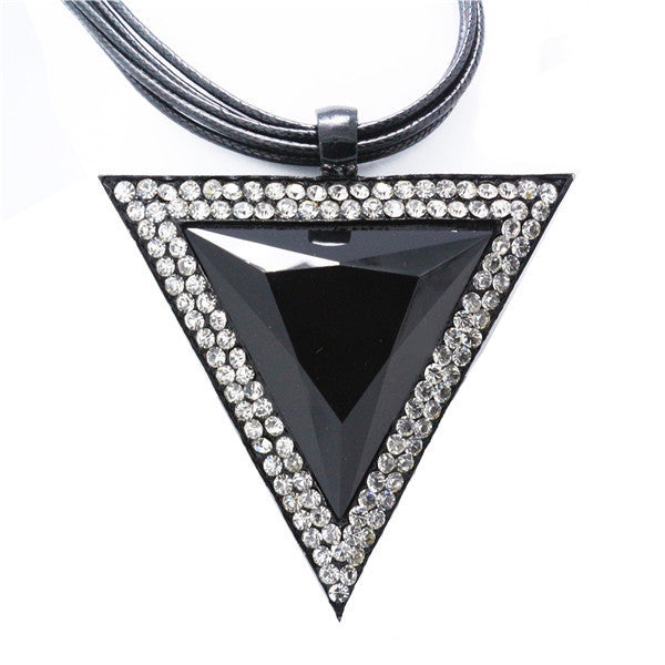 Vintage Jewelry Triangle Statement Necklace Rhinestone Necklaces & pendants Leather Chain