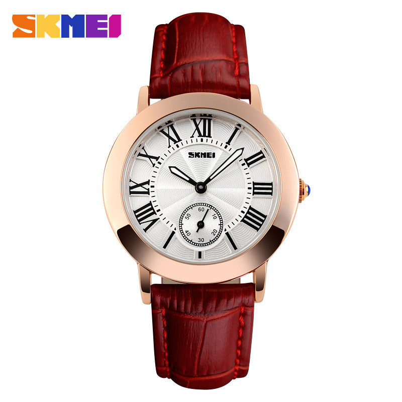 Women Quartz Watch SKMEI Brand Lady Watches Fashion Retro Female Casual Ladies Genuine Leather Strap Women's Wristwatches