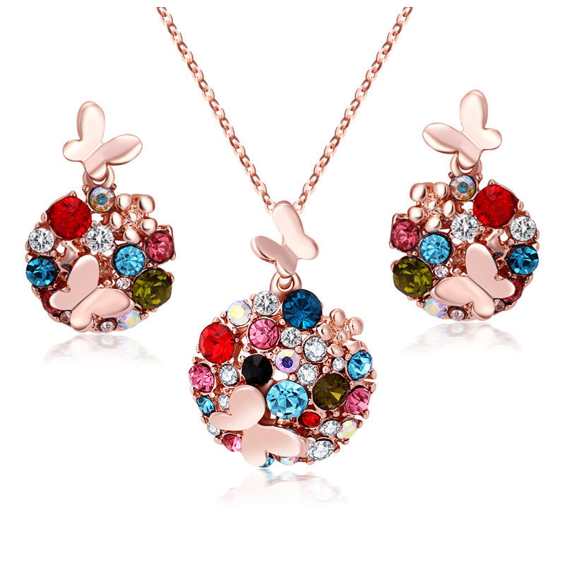 Fashion Brand 18K Gold Jewellery Rhinestone Crystal Jewelry Sets Butterfly Costume Jewelry Necklace Earrings Set for women