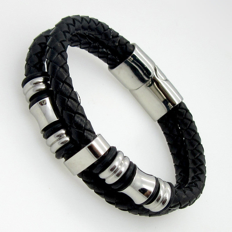 Classical Double Layer Handmade Genuine Leather Weaved Man Bracelets Fashion New Magnet Clasp Good Steel Wristband