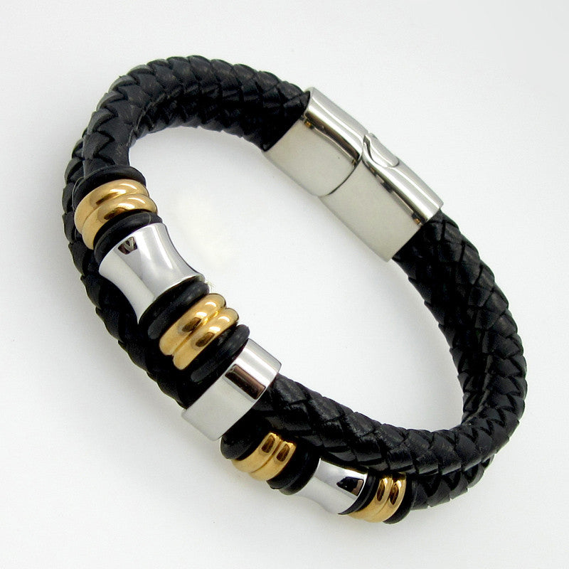 Hot Sell Classical Double Layer Handmade Genuine Leather Weaved Man Bracelets Fashion New Magnet Clasp Good Steel Wristband