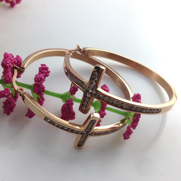 Hot Sell! Stainless Steel Cross Hoop Earring Women Girls Fashion Elegant Round Crystal Earrings