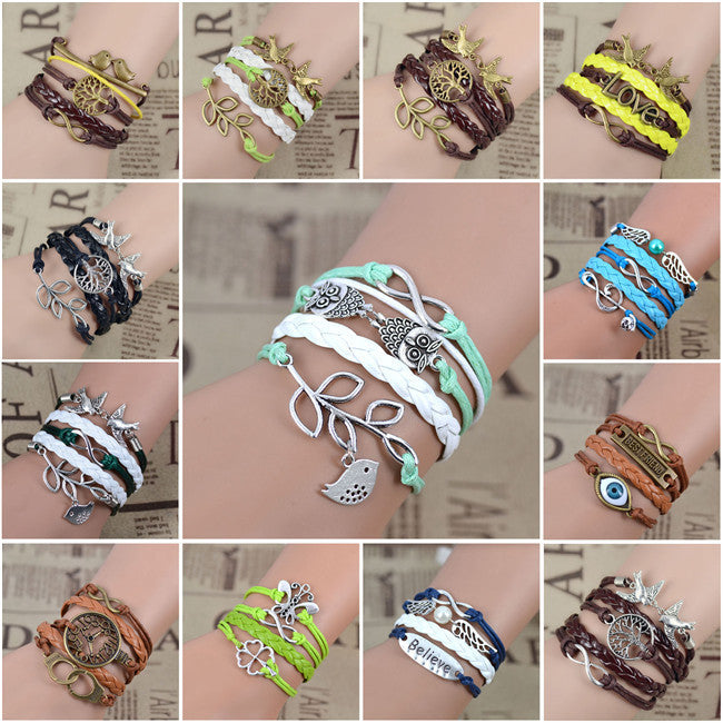 New Arrival Mix Infinity Love Leather Love Owl Leaf Charm Handmade Bracelet Bangles Jewelry Friendship Gift Items