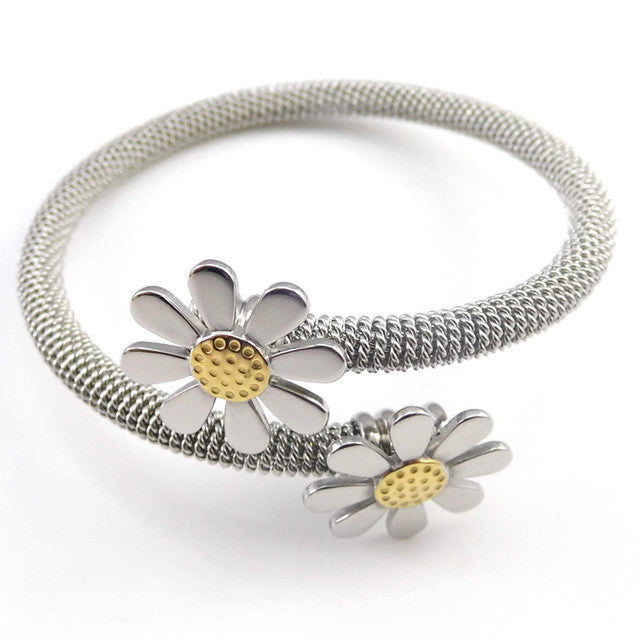 New Fashion Jewelry Bracelets For Women Stainless Steel Elastic Flower Bracelets & Bangles