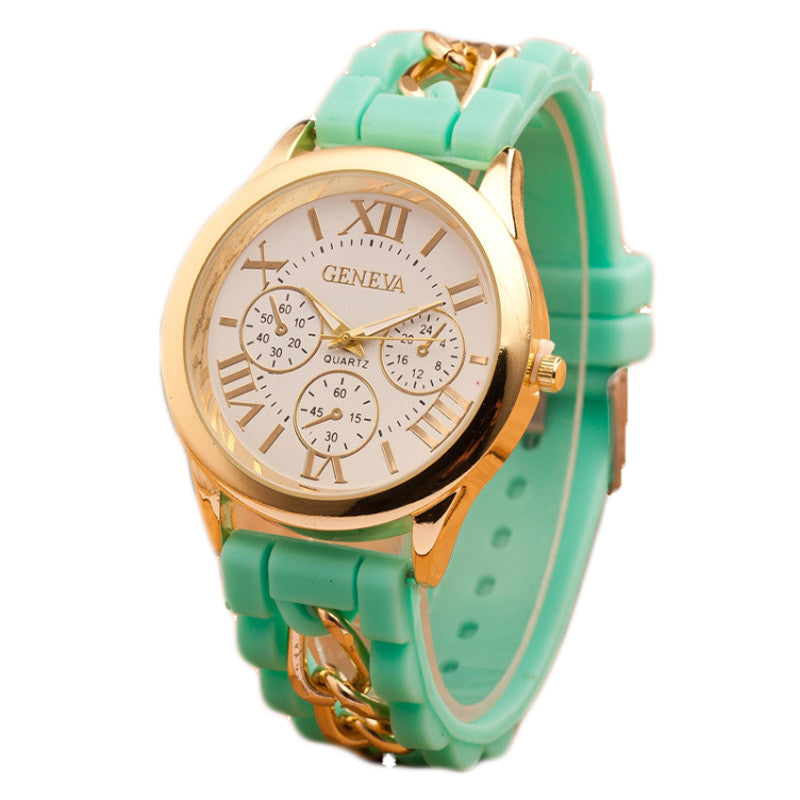 New style Geneva Silicone Band Gold Alloy Chain Women casual Watch men Quartz Wristwatch ladies women Jelly watch