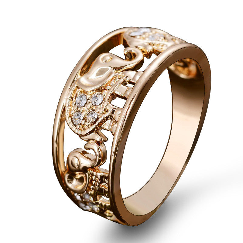 US Size 6-10 Drop Shipping Elegant Gold Elephant Ring Crystal Accessories Joias For Women