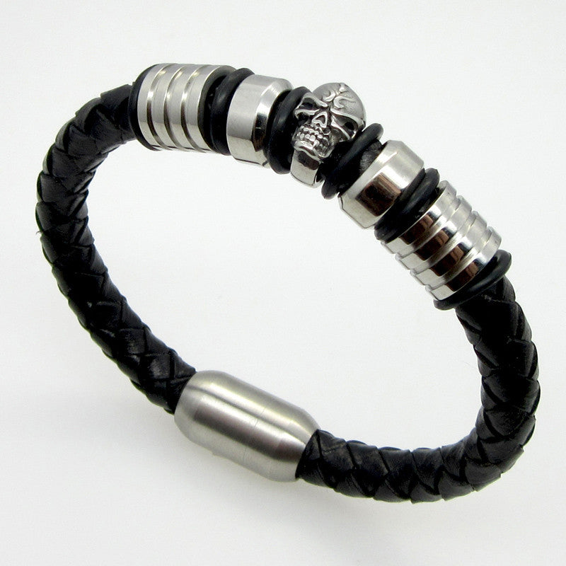 Men Jewelry Pirate Style Silver Genuine Leather Skull Bracelets Magnet Wholesale Cuff Braided Wrap Black
