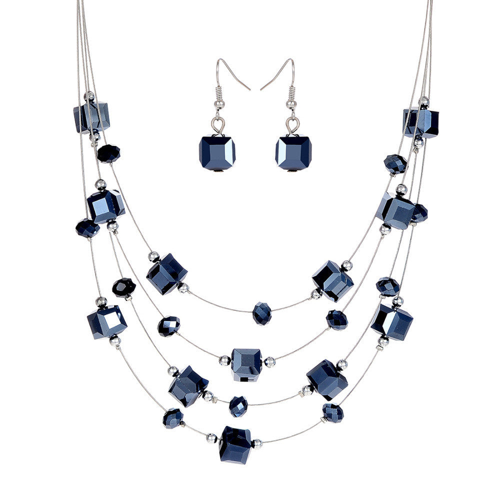 Silver Color Silver Plated Necklace Earrings For Women Jewelry Set Women's Wedding Jewelry Sets Royal Blue Crystal