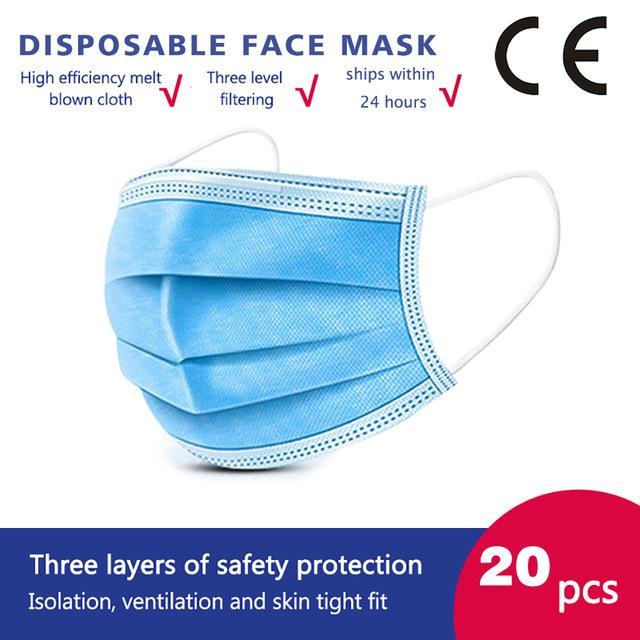 20 Pcs/bag High Quality 3 Layers Disposable Face Masks Anti-Dust Meltblown Cloth Masks Protection Face Mask Protective Dust Filter Safety Mask
