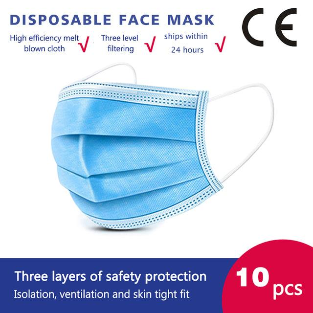 10 Pcs/bag High Quality 3 Layers Disposable Face Masks Anti-Dust Meltblown Cloth Masks Protection Face Mask Protective Dust Filter Safety Mask