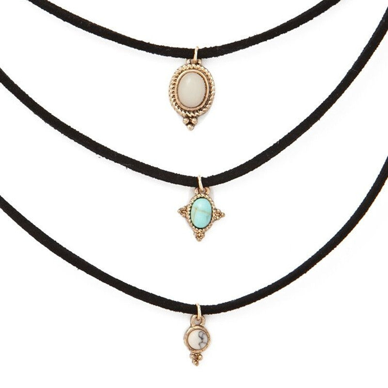 All-match Turquoise Chokers Necklaces Alloy Cute Pendants Necklaces Hot-selling Sets Necklace-3pcs