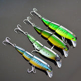 3 Sections Minnow Fishing Lure 10cm/16g/pc Floating Lures Hard Bait 4pcs/pack Multi-corlors