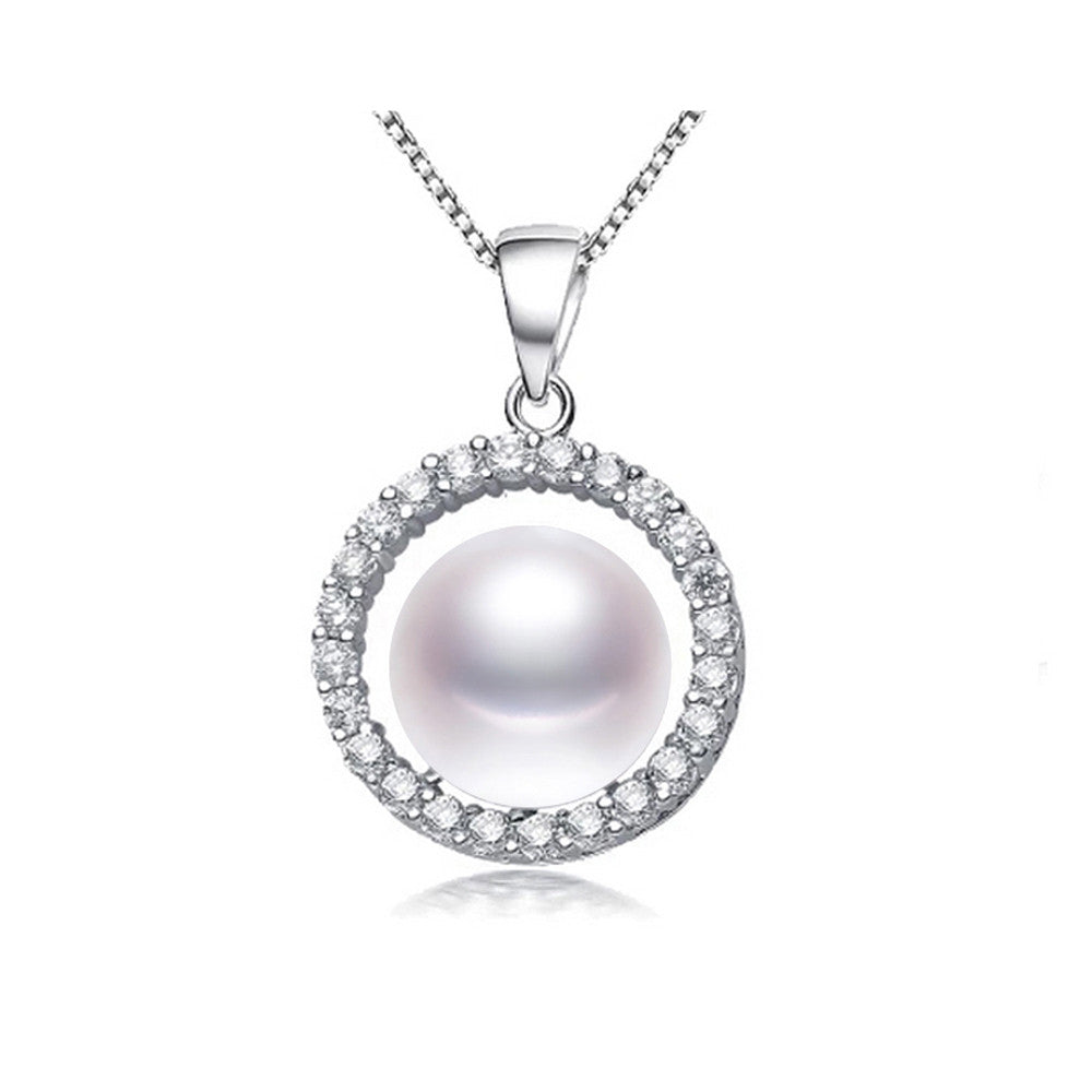 Natural freshwater pearl necklace pendant for women fashion 925 sterling silver jewelry