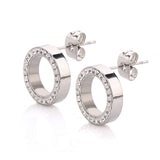 Fashion earrings 316L Stainless Steel Earring Crystal Stud Earrings For Women Joyas Brincos Bijoux Jewelry
