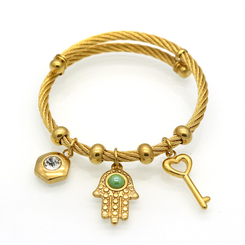 Women Bracelets Bangles Charms Of Evil Eyes Hand Key 18K Gold Plated Trendy Simples Jewellery