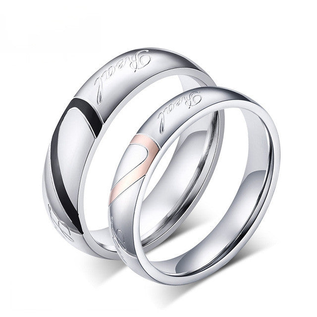 Stainless Steel Wedding Bands Rings For Women Men Love Heart Vintage Ring
