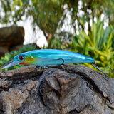 3D Eyes Minnow Hard Fishing Lure 14g 11cm Plastic Pesca Fish Lures Crank Bait Fishing Tackle With Treble Hook Diving 2M
