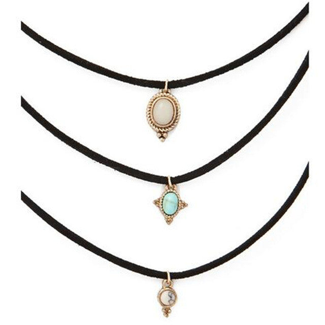 Fashion 3 Colors All-match Turquoise Chokers Necklaces Alloy Cute Pendants Necklaces Hot-selling Sets Necklace
