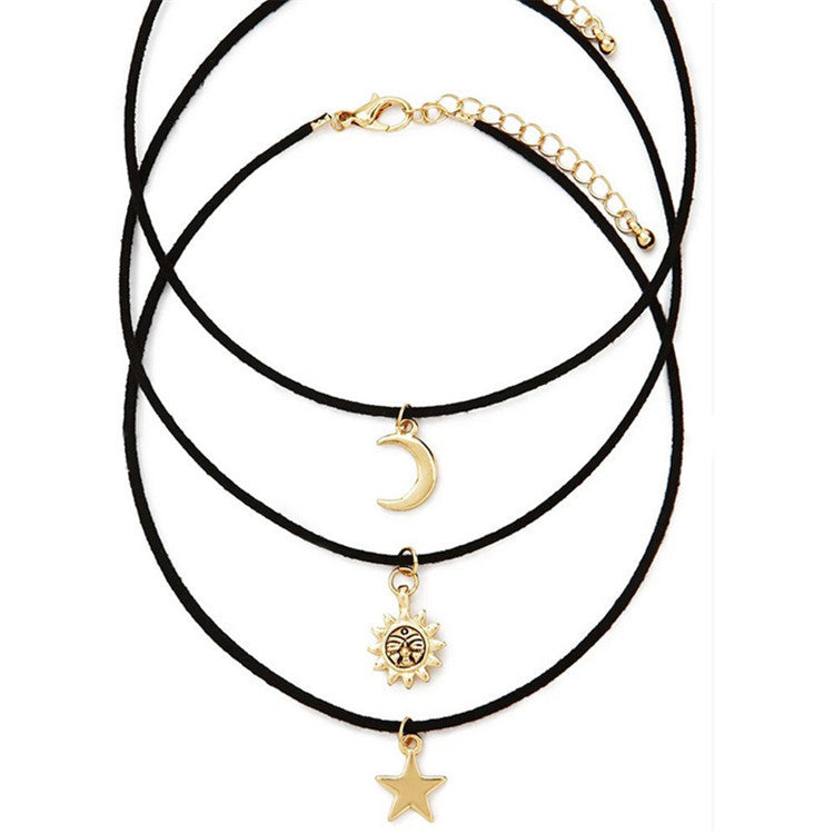 3 Pcs Sets Star Moon Sun Chokers Necklaces Alloy Pendants Maxi Necklaces For Unisex Hot-selling Necklace Sets