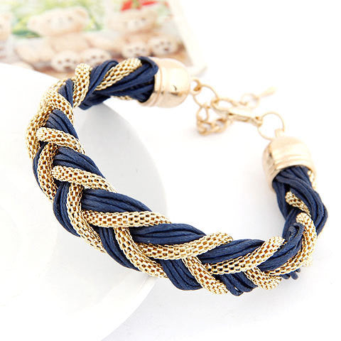 Korean Fashion Elegant Ladies Simple Wild Metal Chain Rope Genuine Leather Braided Bracelets Accessories for Women
