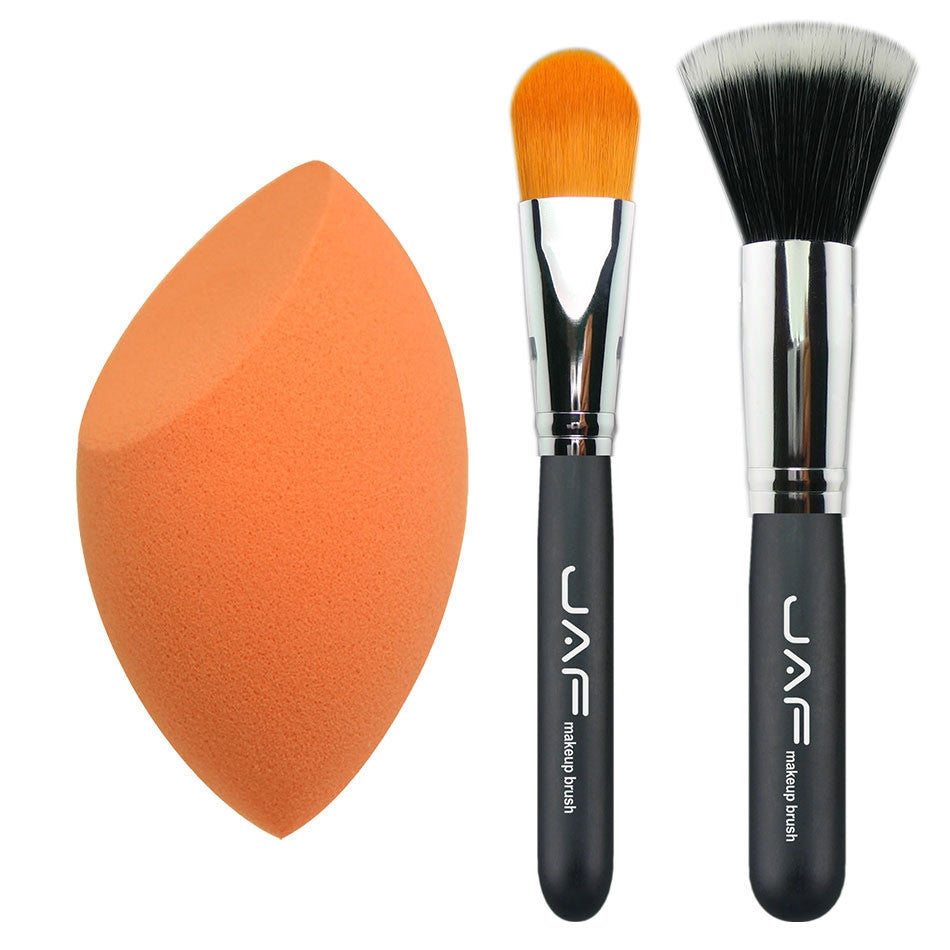 3pcs in set makeup sponge, Pro Angled Foundation blush Liquid brush, brush Kabuki Makeup Brush Set Cosmetics Tool