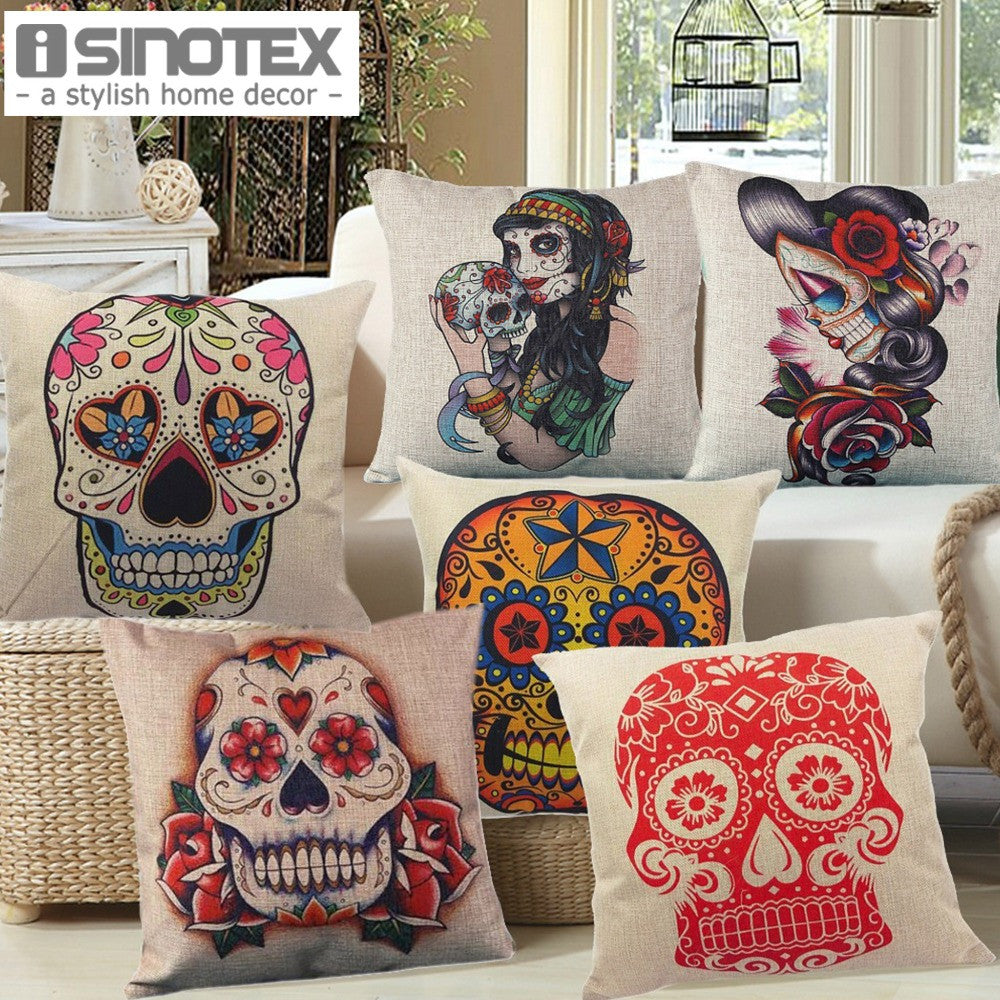 Linen Cushion for Decorative Sugar Skull Printed Decorative Cushion Home Decor