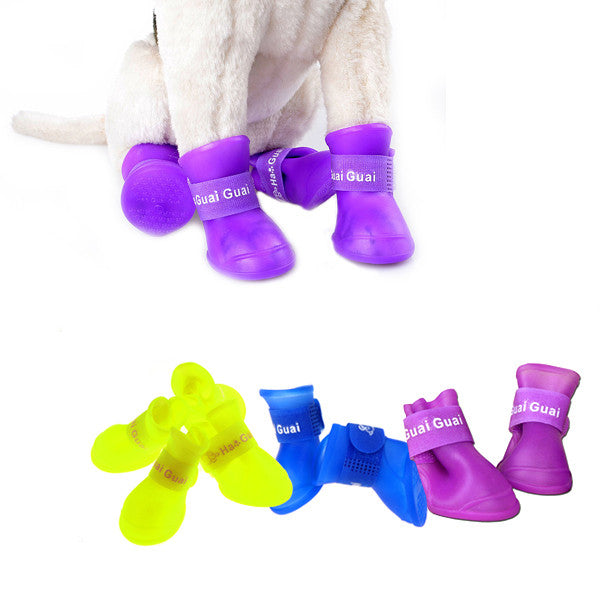 Cute Pet Rain Shoes Boots Protective for Pets Dogs(4pcs/set)