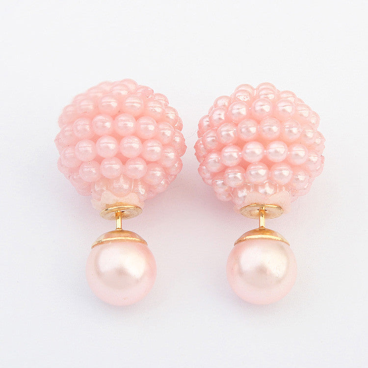 Double Side Imitation pearl fashion earring Trendy Cute Charm Pearl Statement Ball Stud earrings for women