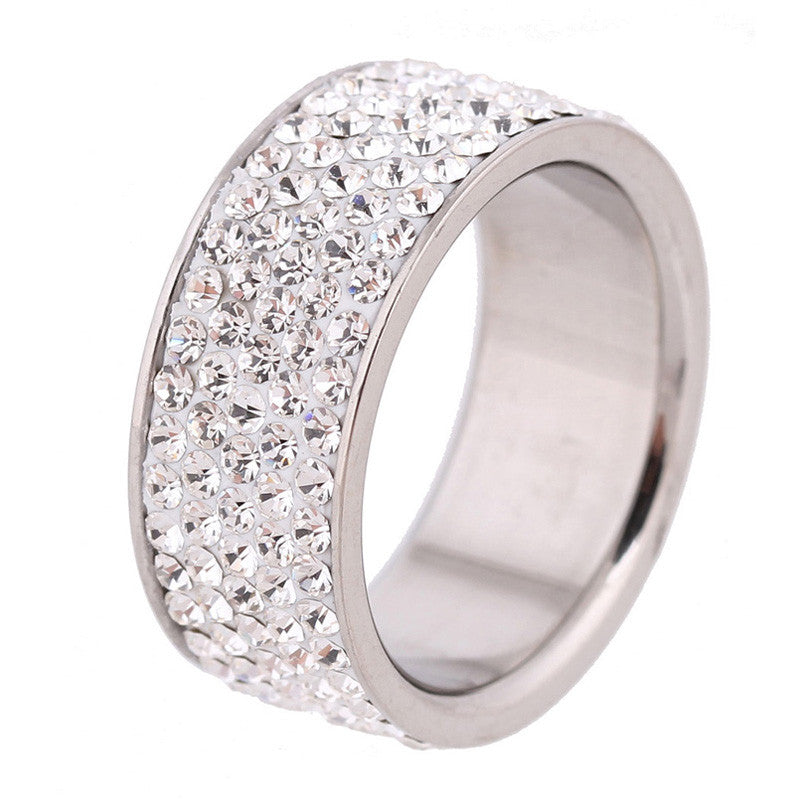 Five Row Lines Clear Crystal Jewelry Fashion Stainless Steel Engagement Rings