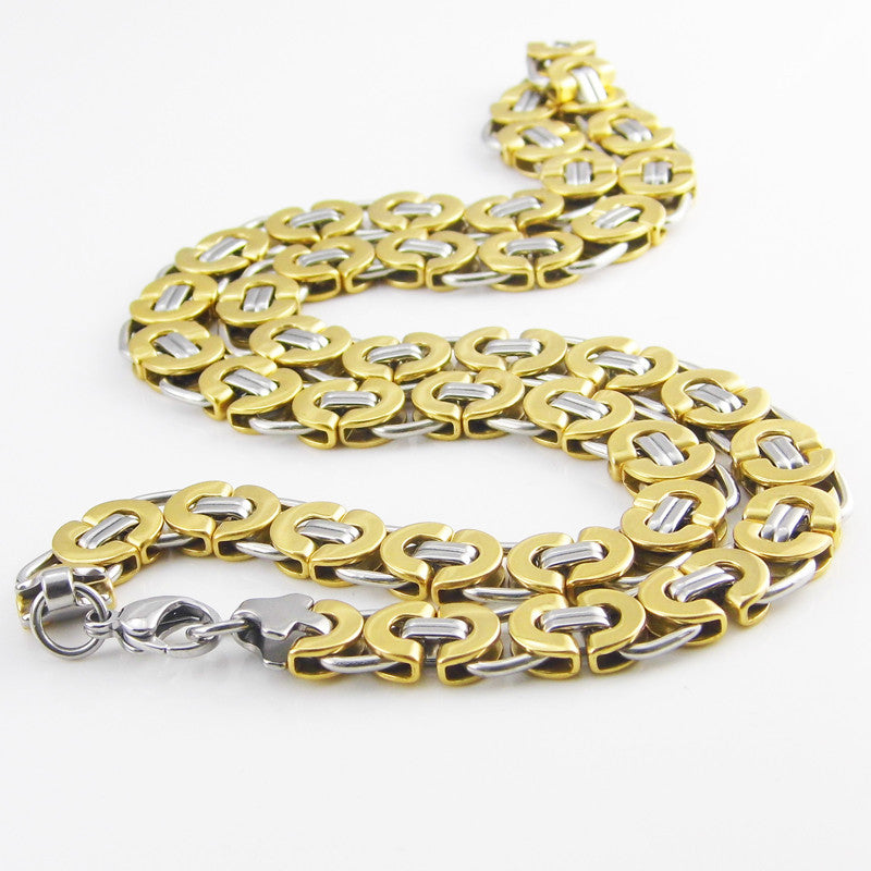 Length 11mm Width Byzantine Stainless Steel Necklace MENS Boys Chain Necklace Gold Tone Fashion Men Jewelry