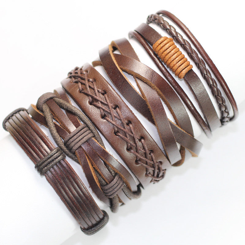 Vintage brown handmade genuine real leather men bracelet for women bracelets bangles pulseira masculina erkek bileklik (5pcs/lot)