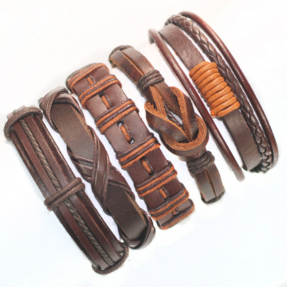 Brown wrap real leather bracelet men friendship Bracelets bangles for women 5pcs/lot